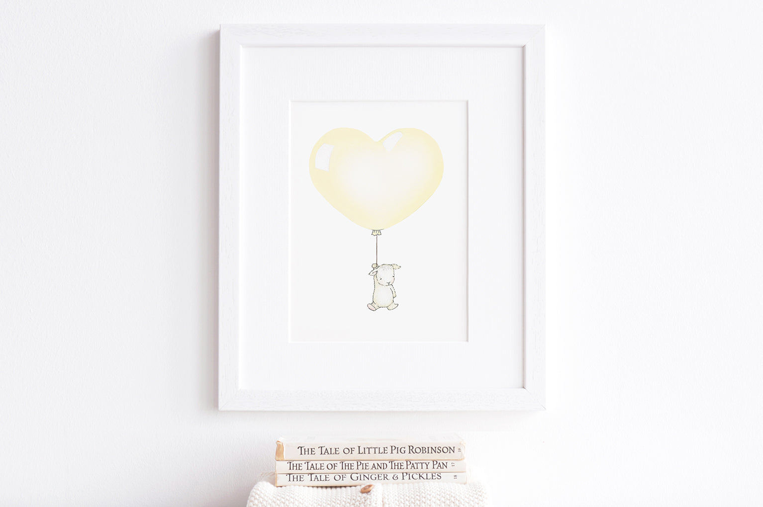 Children's Pastel Pale Yellow Heart Balloon Picture