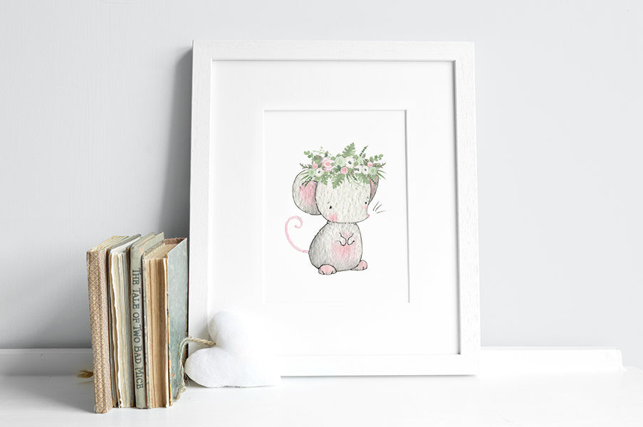 Girl's floral garden mouse watercolour nursery print