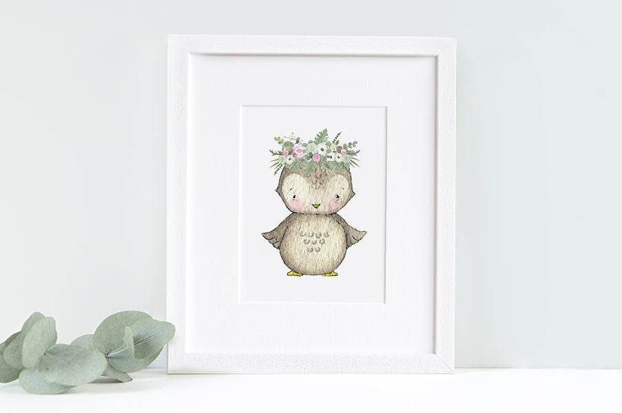 Girl's Garden Owl Nursery Wall Art Print