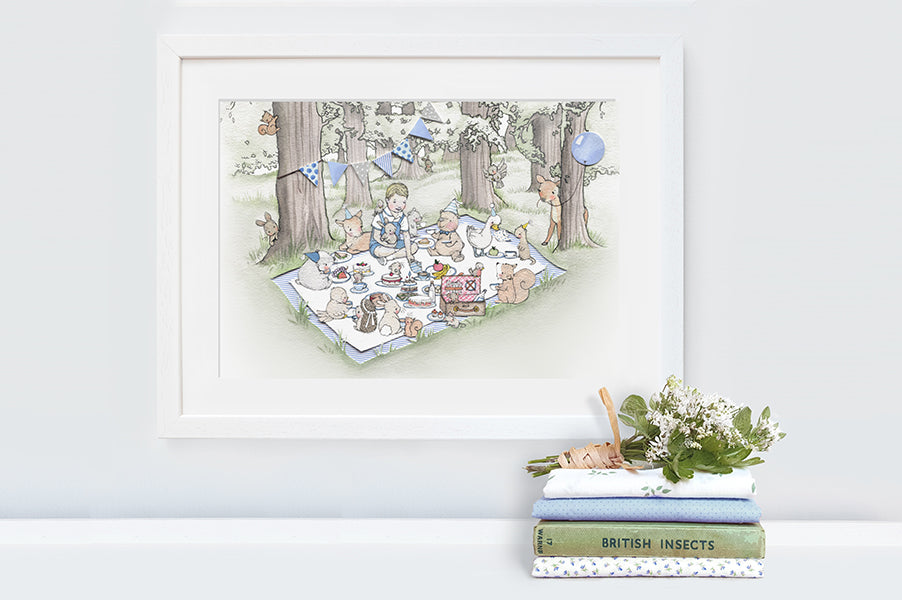 Boy's Personalised Woodland Picnic Picture