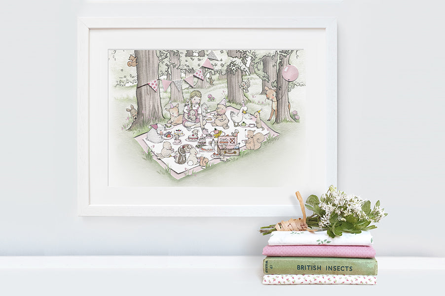 Girl's Personalised Woodland Picnic Picture