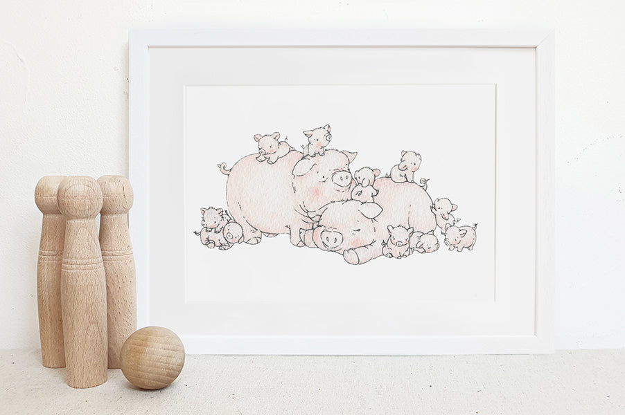 Children's Illustrated Cute Pig Family Picture