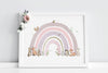 Girl's Personalised Pink Woodland Animal Rainbow Wall Picture