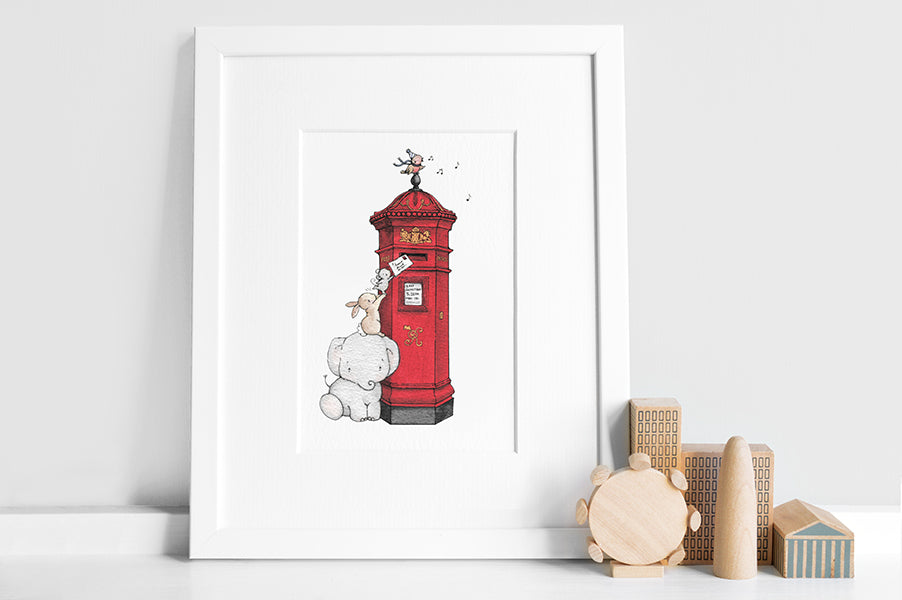 Illustrated British Red Post Box Picture for a child's Room
