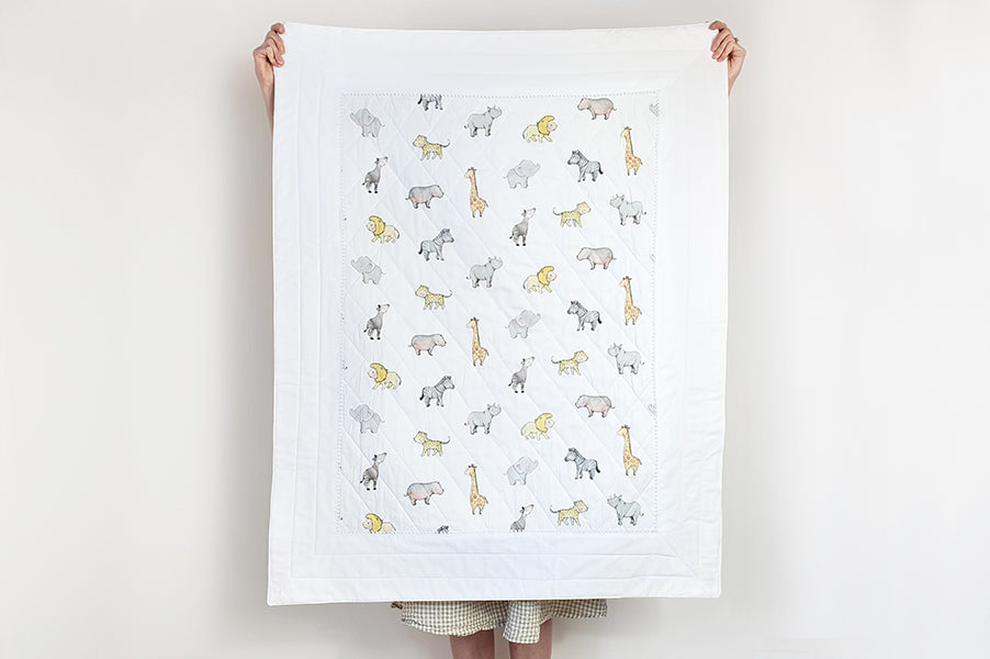 Safari animal baby Cot Bed toddler Quilt