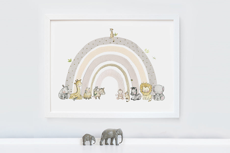Children's safari animal rainbow nursery picture