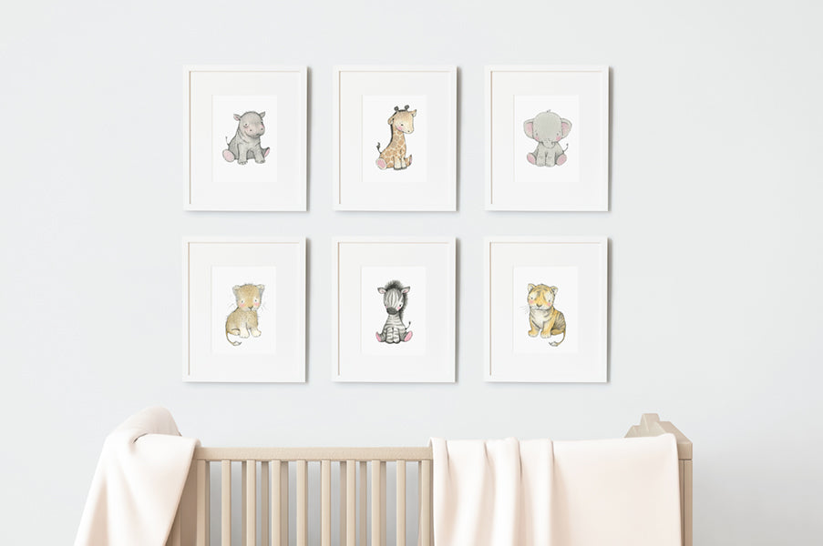 Safari Newborn Baby Animals Nursery Art Set