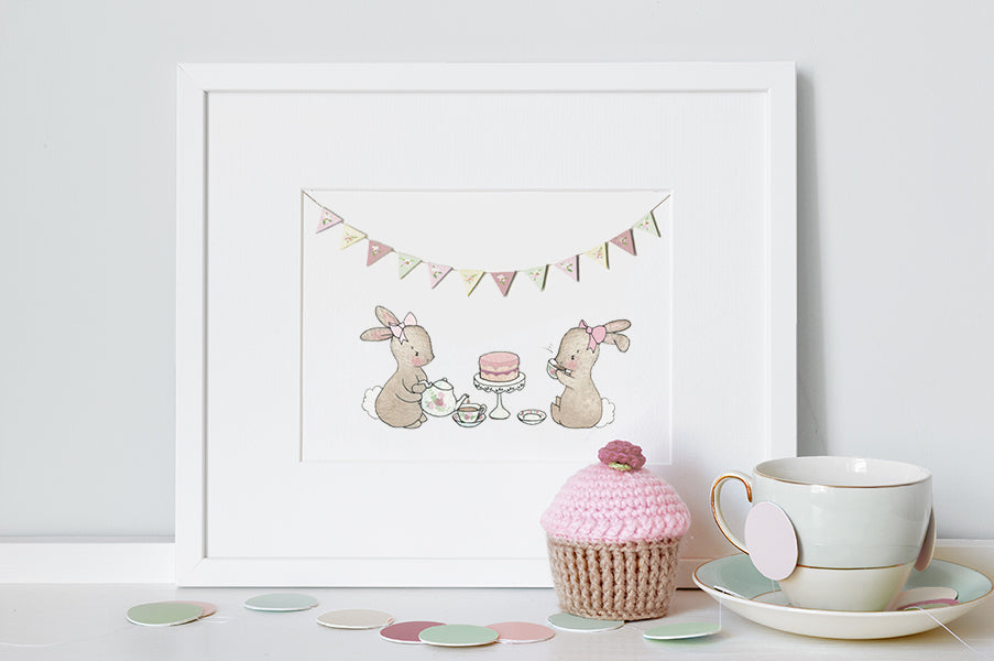 Tea For Two Bunnies Picture for Girl's Room