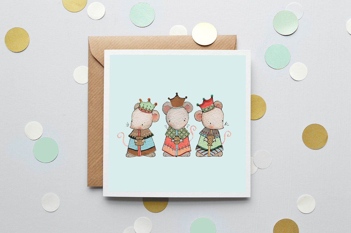 Children's Three Wise Mice Christmas Card