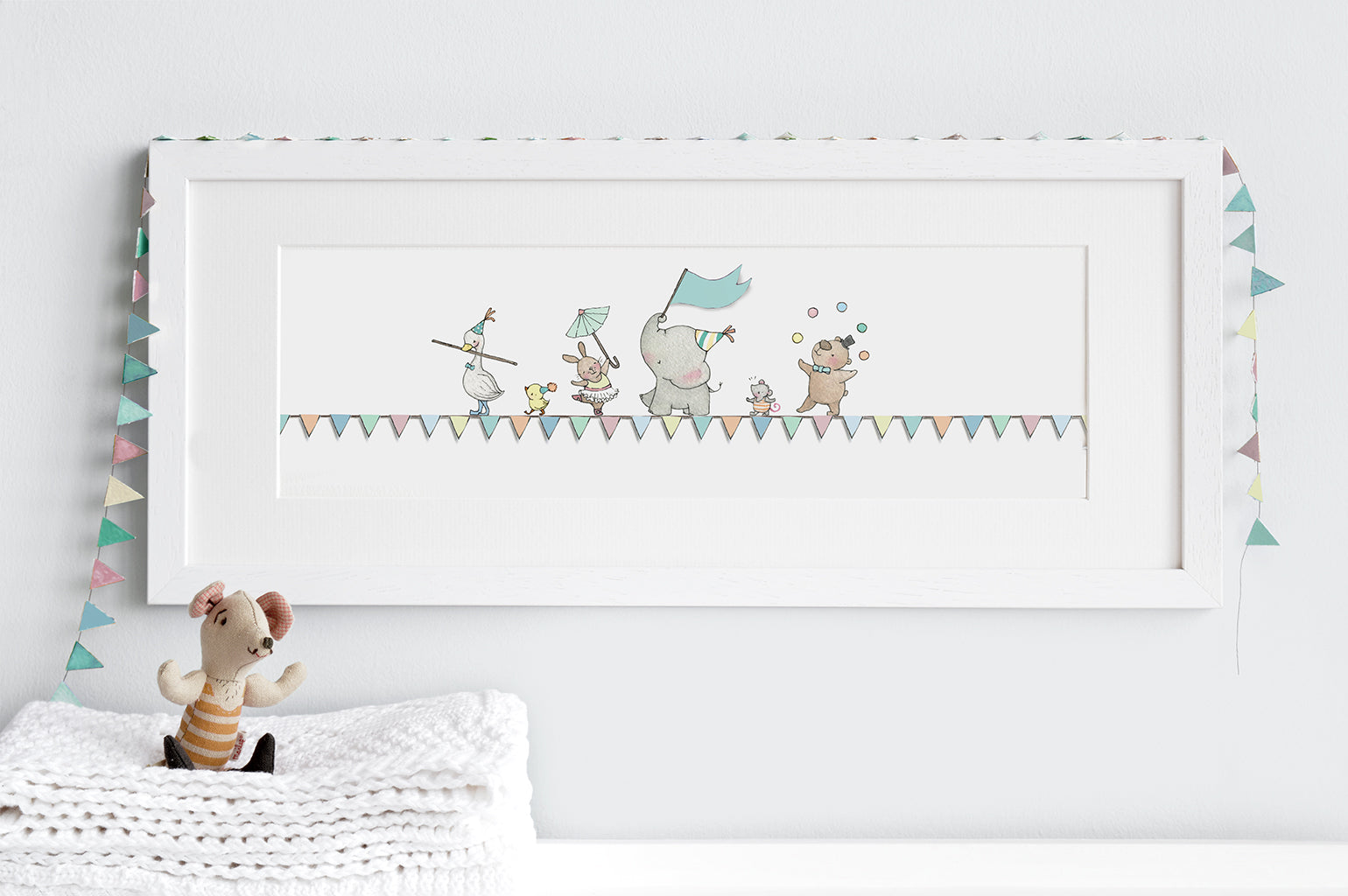 Kid's Tightrope Friends Long Framed Circus Picture