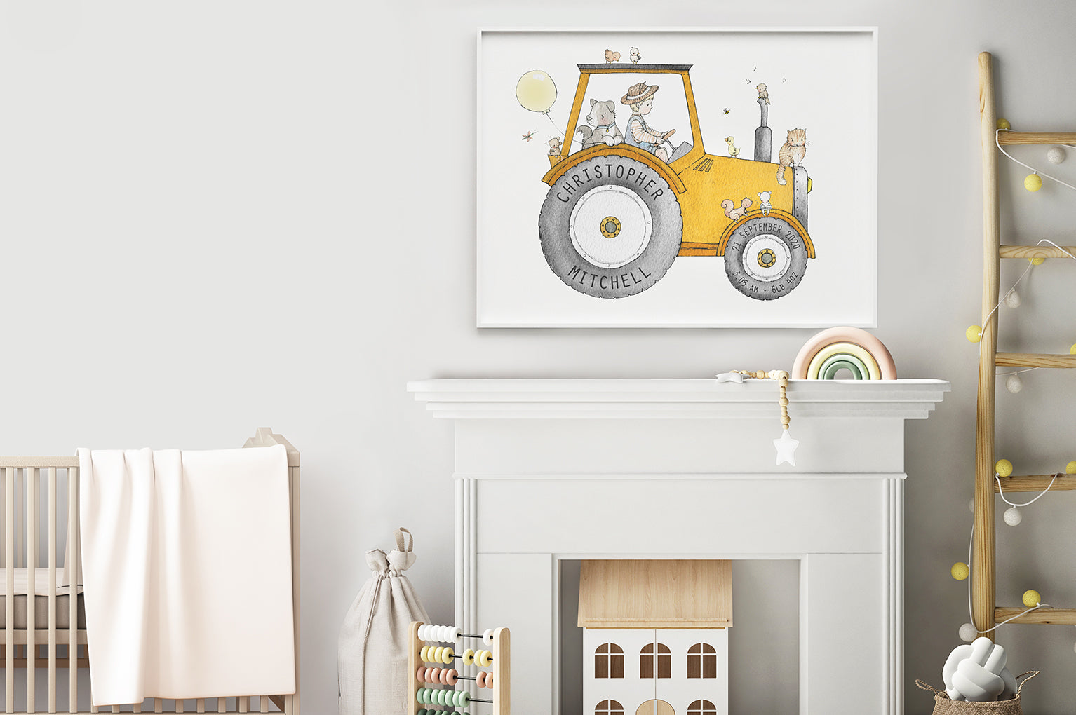 Kid's big farm tractor vehicle wall poster print