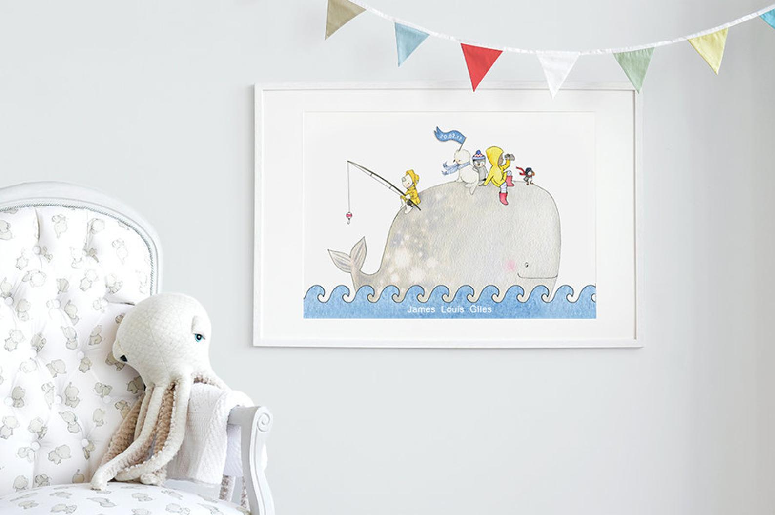 Children's bedroom wall decor big Whale Picture