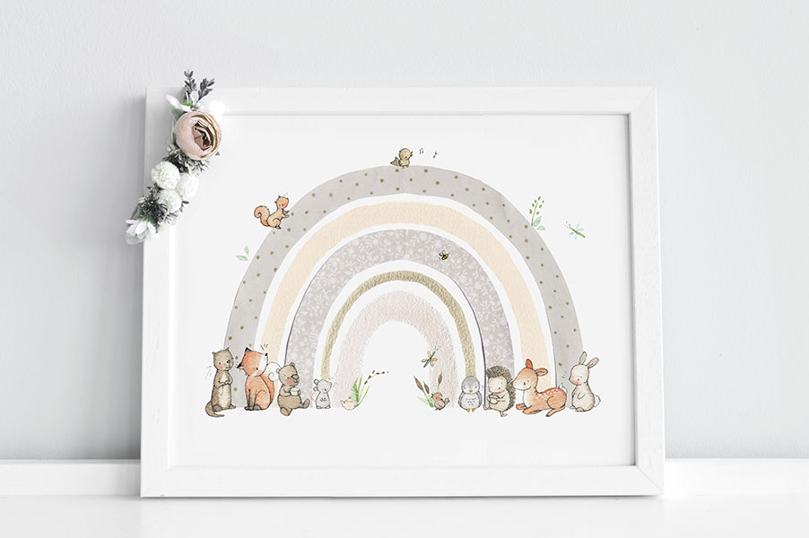 Children's gender neutral rainbow wall art picture