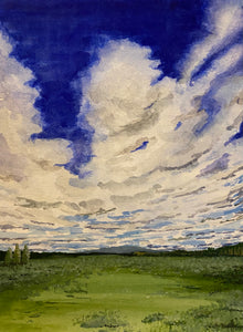 """Prairie Sky's"" Watercolor Landscape"