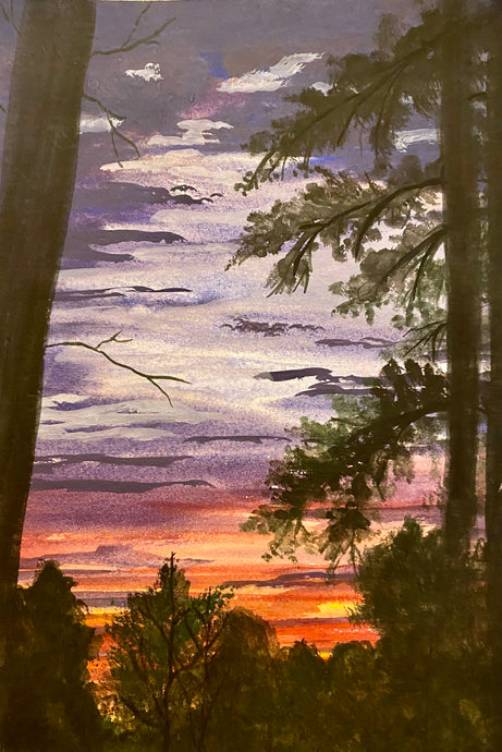 """Red Sky through the Trees"" Watercolor Landscape"