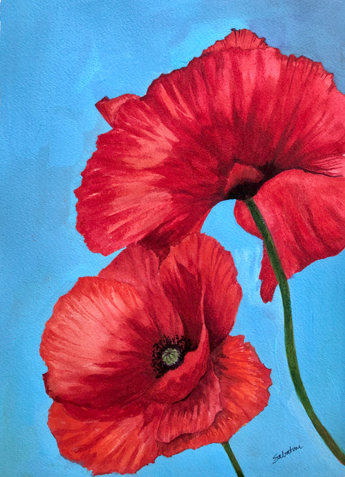 """Poppies in Blue"" Watercolor Florals"