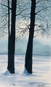 """Silhouette in Winter"" Watercolor Landscape"