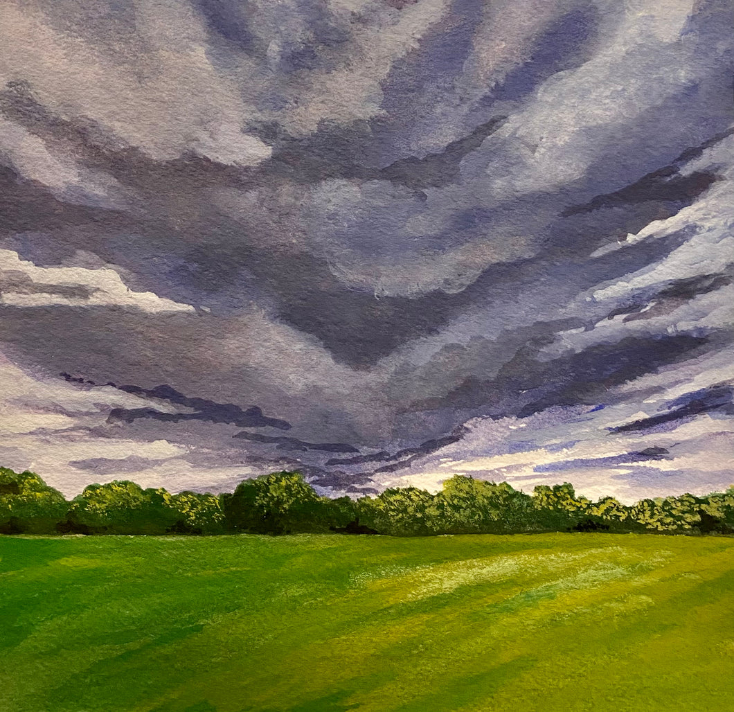 """Storm Clouds"" Watercolor Landscape"