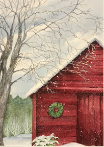 """Red Barn"" Watercolor Landscape"