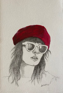 """Raspberry Beret"" Watercolor Portrait"