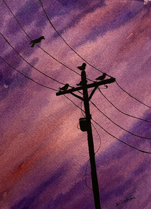 """Bird on a Pole"" Watercolor Landscape"