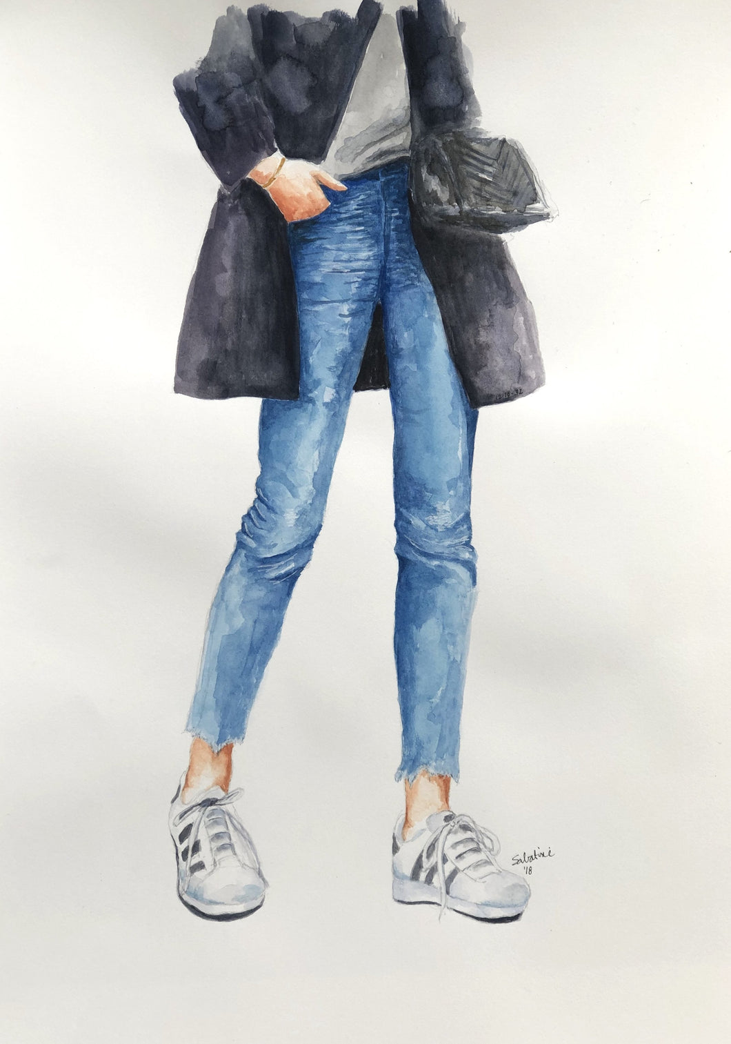 """Leather Jacket"" Watercolor Fashion"