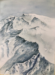 """Silver Mountains"" Watercolor Landscape"