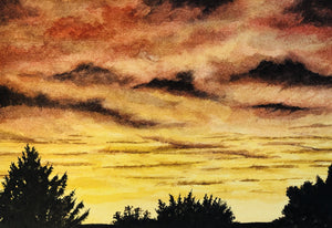 """Orange Sunset"" Watercolor Landscape"