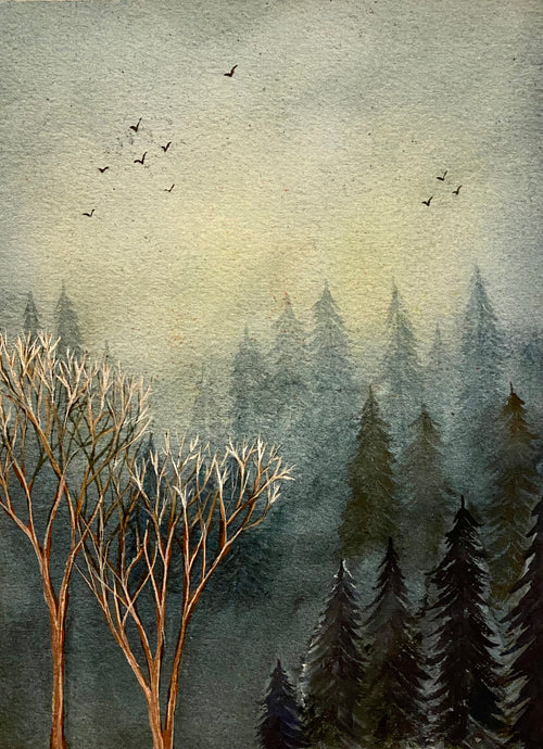 """White tipped trees""  Watercolor Landscape"