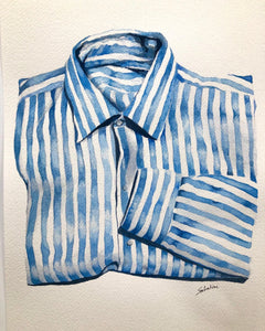 """Blue Striped Shirt"" Watercolor Fashion"