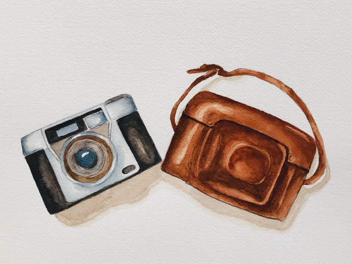 """Vintage camera"" Watercolor Still Life"