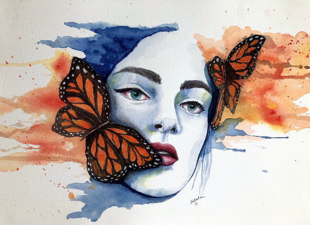 """Monarch Woman"" Watercolor Portrait"