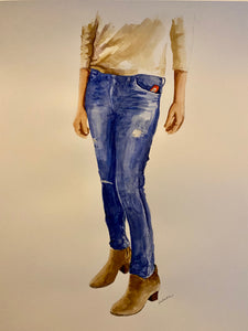"""Jeans with Suede Boots"" Watercolor Fashion"