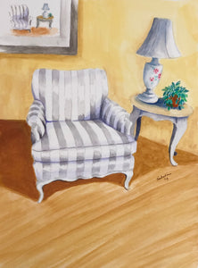 """Striped chair"" Watercolor Still Life"