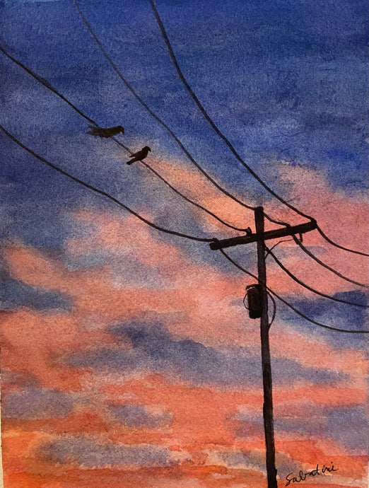 """Bird on a Wire""  Watercolor Landscape"