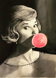 """Pink Bubblegum"" Watercolor Portrait"