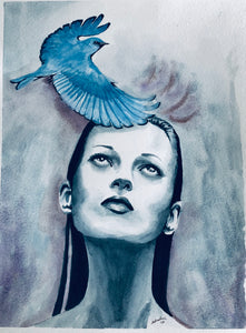 """Bluebird of Happiness?"" Watercolor Portrait"