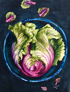 """Red Cabbage"" Watercolor Still Life"