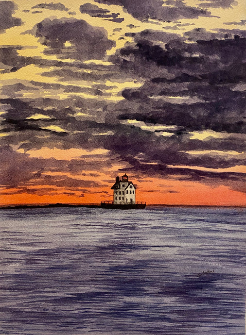"""Lighthouse "" Watercolor Landscape"