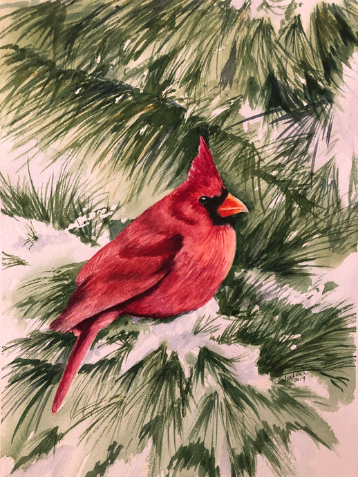 """Cardinal Messenger"" Watercolor Nature"