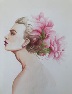 "'Profile with Peonies"" Watercolor Portrait"