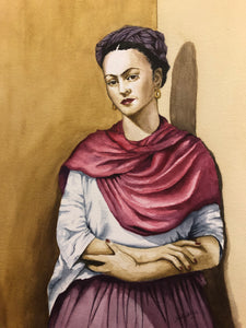 "'Frida with Shawl"" Watercolor Portrait"