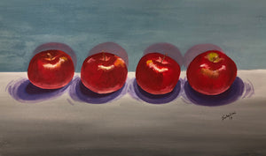 """Four Apples"" Watercolor Still Life"