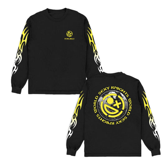 Sexy Knights World + Final Bout Long Sleeve Black Shirt [ Yellow Print ]