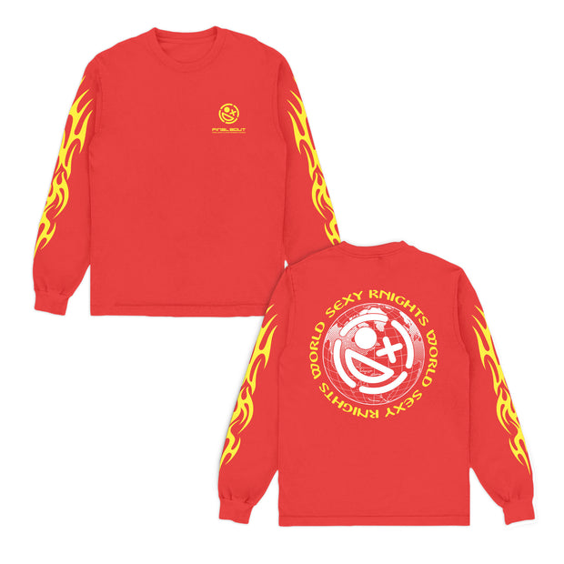 Sexy Knights World + Final Bout Long Sleeve Red Shirt [ Yellow Print ]
