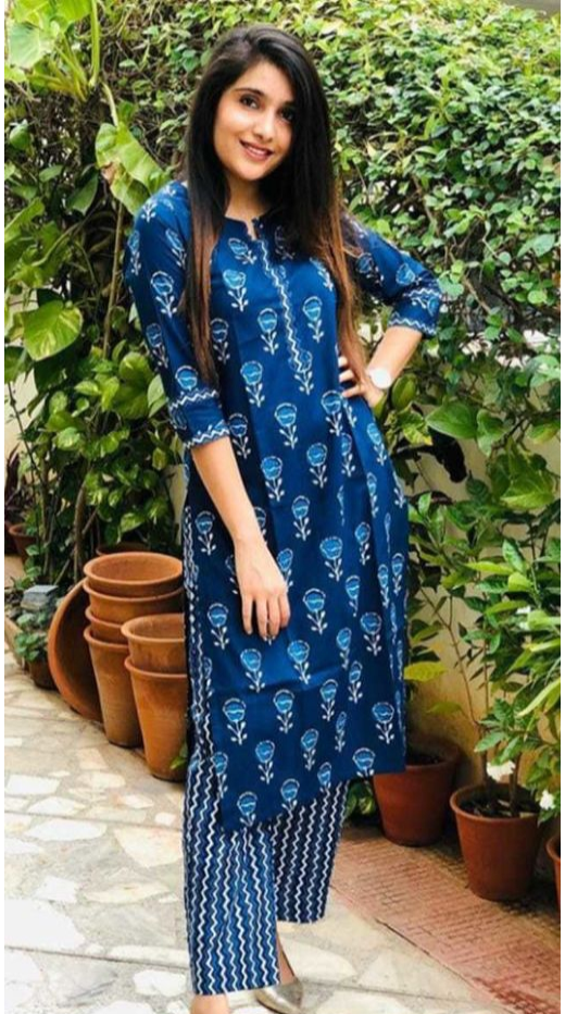 Attractive Printed Indigo Kurta-set