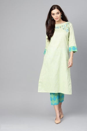 Women's Solid Cotton Kurta-set with Palazzos
