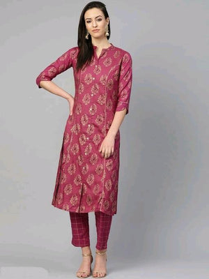 Printed Rayon Kurta-set With Palazzos