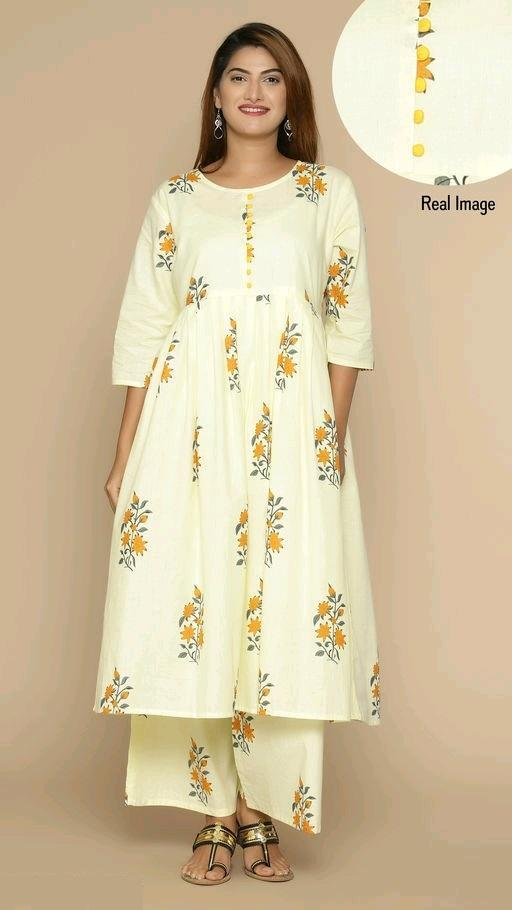 Women's Floral Printed Cotton Kurta-Set With Palazzo