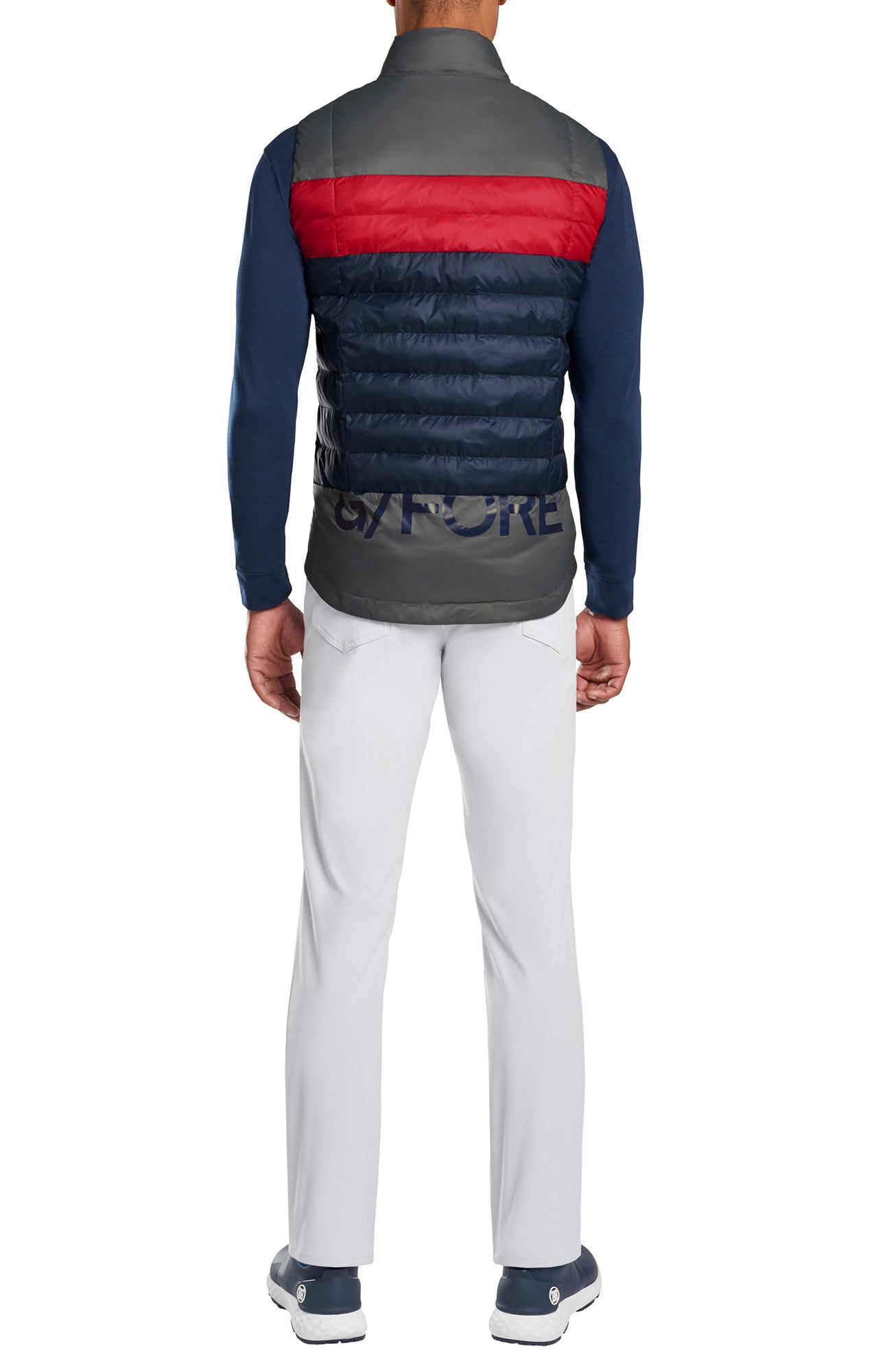 지포어 컬러블럭 퀼트 베스트 G/FORE Colour Block Quilted Vest Twilight-Cherry